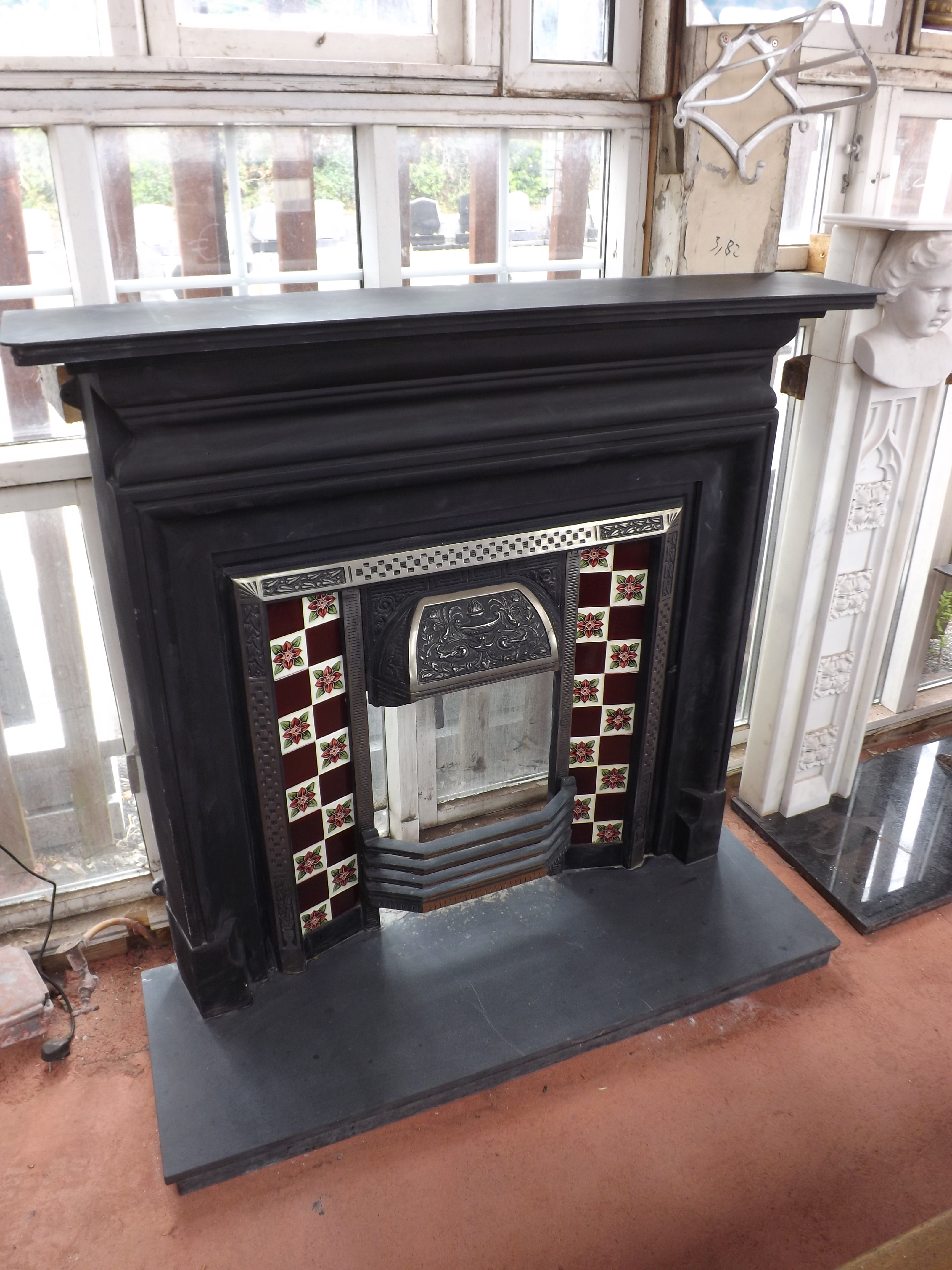 combination valentine full polish grate low fireplace traditional suite iron cast polished carron